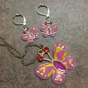 💖BETSEY JOHNSON BUTTERFLY NECKLACE&EARRING SET💖